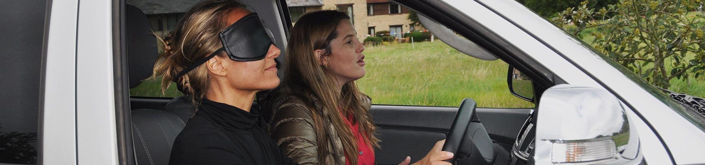 Two women in car driving
