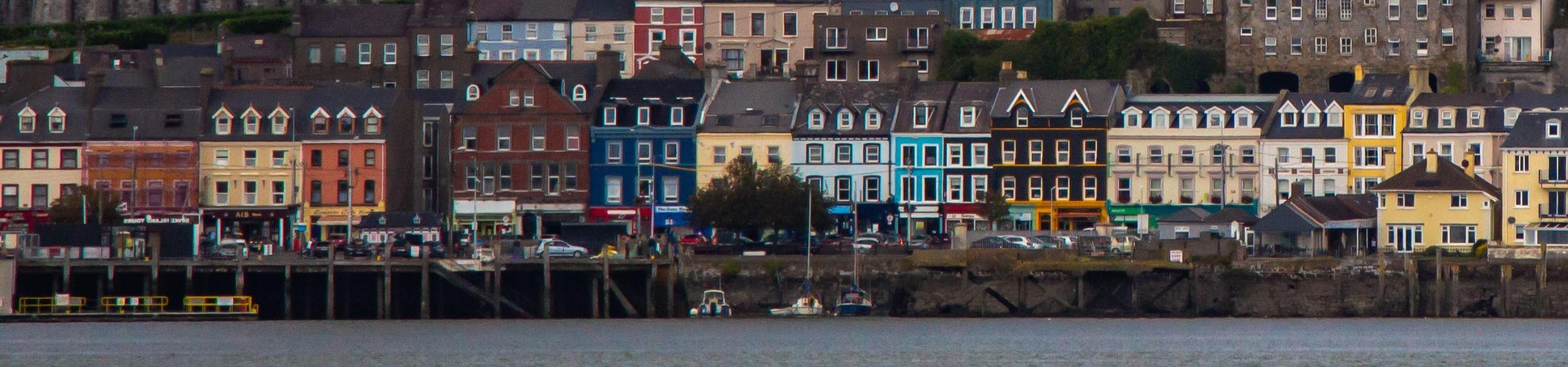Buildings along a river